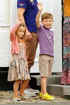 The Danish Royal Family pose for a family portrait at their summer residence, Grasten Palace. Pictured is Prince Christian and Princess Isabella, July 2012.