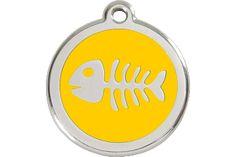 Red Dingo Enamel Tag Fish Bone Yellow 01-SK-YE (1SKYS / 1SKYM / 1SKYL)