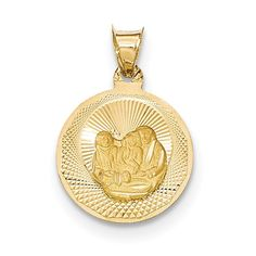 14k Yellow Gold Polished and D/C Baptism Circle Pendant K5677. Sold Individually. 14k Yellow Gold. All orders ship in one business day. Customer service is our highest priority.