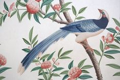 This exquisite bird is part of the hand-painted Chinese wallpaper at Pitzhanger Manor, Sir John Soane's country house in Ealing, London. In 2018 a team of three artists - Alasdair Peebles, Nicky Pasterfield and Rachel Spelling - repainted the entire wallpaper from scratch, and the house is now open to the public. Alasdair painted this, and many more, extraordinary birds. Chinese Wallpaper, Chinoiserie Wallpaper, Great Friends, Spelling, Hand Painted, Studio, Beautiful Things, Public, Birds