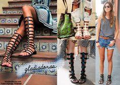 Tendências de Sapatos Primavera/Verão 2015 - Sandálias Gladiadoras  http://viroutendencia.com/2014/10/07/tendencias-os-sapatos-da-primaveraverao-2015/