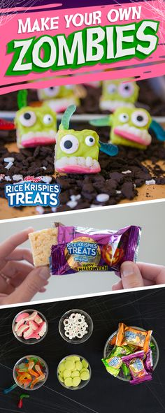 Eat them before they eat you. Zombie Rice Krispies Treats make for a terrifyingly tasty snack this #Halloween! Ingredients: - Rice Krispies Treats - Green candy melts - Candy eyes - Gummy teeth