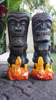 Ceramic tiki mugs by Gecko'z South Sea Arts Hawaii