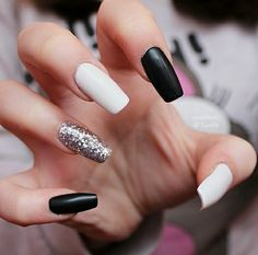 Matte black & white with silver glitter acrylic nails White And Silver Nails, Black And White Nail Designs, Black Nails With Glitter, White Coffin Nails, Glitter Nails, Silver Glitter, Homecoming Nails, Prom Nails, Stylish Nails
