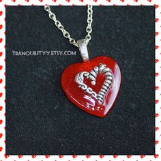 Valentine Necklace Candy Apple Red Heart Necklace by tranquilityy