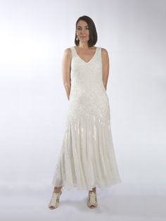 Ivory Beaded Dress with Gored beaded skirt
