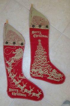Vintage Christmas Xmas Stockings Decoration Bells Tree Santa Claus Reindeer