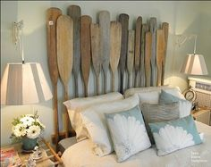 Headboard made out of old oars