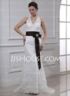 Wedding Dresses - $186.99 - Sheath/Column Halter Court Train Satin Lace Wedding Dress With Sashes Crystal Brooch (002000430) http://jjshouse.com/Sheath-Column-Halter-Court-Train-Satin-Lace-Wedding-Dress-With-Sashes-Crystal-Brooch-002000430-g430