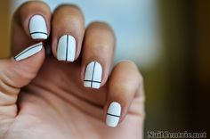 Black and white nail art with striping tape - NailCentric