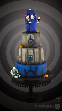 A Doctor Who / Nightmare Before Christmas Cake - Black Cherry Cake Company