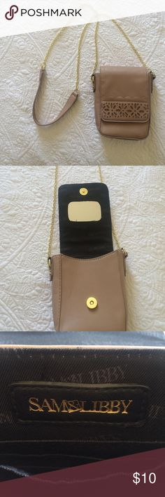 Pink Wallet Purse Pink Leather Wallet Purse. Good condition. Never used has just been sitting in my closet. Mirror inside. Gold chain. 4 pockets for credit cards and another little pocket inside. Sam & Libby Bags Crossbody Bags