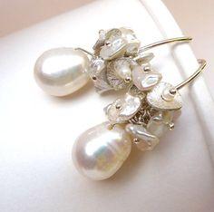Bridal Cluster Earrings Ivory Freshwater Pearl by LeBijouPrecieux, $36.00