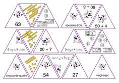 Jeu: les vaches dans l'hexagone. Différentes représentations d'un nombre - cycle 2 - 5 nouvelles planches de nombres -