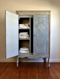This previously old and grungy armoire now has a new boutique-style finish. You might remember this armoire from a previous post, Buyer. Furniture Dolly, Barbie Furniture, Ikea Furniture, White Furniture, Vintage Furniture, Gothic Furniture, Furniture Removal, Distressed Furniture, Armoire Makeover