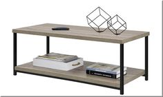Modern Coffee Table Engineered Wood Metal Open Shelf Living Room Furniture  | eBay