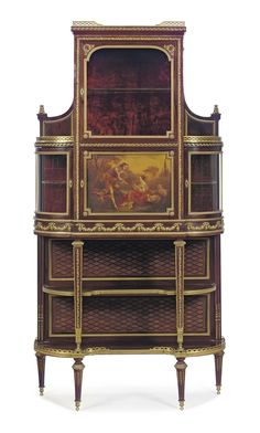A FRENCH ORMOLU-MOUNTED KINGWOOD, MAHOGANY, PARQUETRY AND VERNIS MARTIN VITRINE-CABINET -  BY FRANCOIS LINKE, INDEX NUMBER 75, PARIS, EARLY 20TH CENTURY