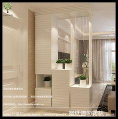 白色烤漆玄关柜门厅柜屏风隔断柜简约现代镂空田园玄关隔断鞋柜
