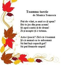 Poezie - Toamna tarzie de Monica Tomescu Experiment, Nicu, Nursery Rhymes, Origami, Preschool, Songs, Crafts, Romania, Google