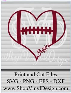 Texas A & M Aggies Heart- SVG, PNG, EPS, AI, PDF Digital Files for Cricut, Silhouette, Sure Cuts A Lot and More