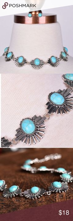 """Boho Silver Turquoise Choker & Earrings 12"""" with 3"""" extension. 15% off bundles! JUST RESTOCKED! Jewelry Necklaces"""