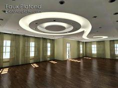 Voila un faux plafond idéal pour ceux qui aiment les espaces ouverts. Ce faux plafond s'accorde parfaitement avec les pièces ouvertes, comme vous voyez le faux plafond plein des spots et contiens aussi un tube...