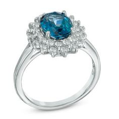 Oval London Blue and White Topaz Frame Ring in Sterling Silver - Size 7 | December | Birthstones | Collections | Zales