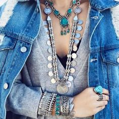boho layering necklaces- Beautiful bohemian hippie jewelry http://www.justtrendygirls.com/beautiful-bohemian-hippie-jewelry/