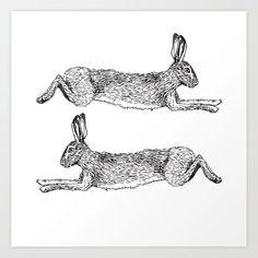 Running hare Art Print by audreyfortin Fox And Rabbit, Rabbit Art, Hare Illustration, Visual Map, Rabbit Drawing, Rabbit Pictures, Rabbit Tattoos, Doodle Tattoo, Bunny Art