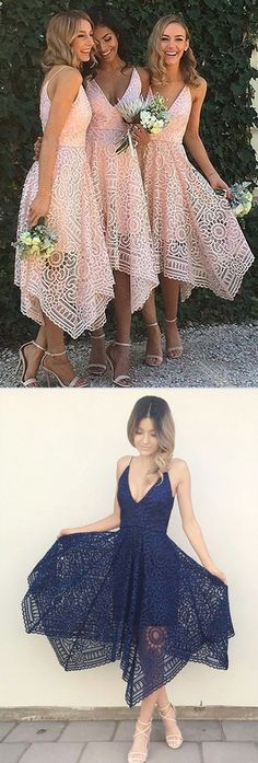 Pink Lace Bridesmaid Dress,A-Line Spaghetti Straps Bridesmaid Dress #Pink #Bridesmaiddresses