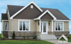 High quality modular homes, Find your Cordiale model at the best price. Contact our Pro-Fab Experts; Bungalow Exterior, House Paint Exterior, Exterior House Colors, My House Plans, House Floor Plans, Facade Design, House Design, Beautiful Small Homes, Drummond House Plans