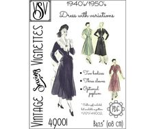 1940's-1950's Dress with variations B42.5 108 | Etsy