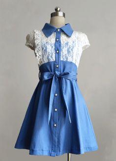 Short Sleeve Blue Cotton Sweet Lolita Dress