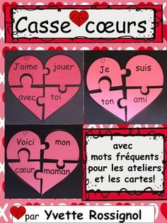 My most popular center this week! Lots of practice at making 4 word sentences! Valentines Day Activities, Valentine Day Crafts, World Language Classroom, Diy And Crafts, Crafts For Kids, Core French, Word Sentences, French Resources, French Immersion