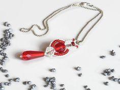 white macrame pendant on ball chain necklace by Kreativprodukte
