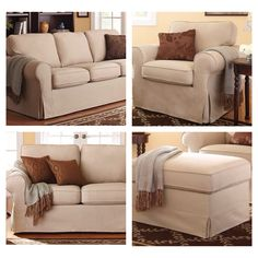 Traditional Inspired Slip Cover Sofa Loveseat Chair And Ottoman Affordable  Better Homes And Gardens