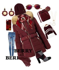 """""""Berry Puffer"""" by mdfletch ❤ liked on Polyvore featuring Miss Selfridge, Mansur Gavriel, Roberto Festa, Mark & Graham, Dr. Martens, Burberry, Ray-Ban, Casetify, Kate Spade and Marni"""