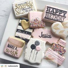 How cute are these cookies from @natsweets #cookies #sugarart #sugar #sweets #pink #cute #cookietime #sweettreat #instayum #nom #huffposttaste #yahoofood #darlingmovement #darling #abmlifeissweet #partyideasgroup