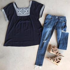 Believe us when we tell you that you need this top and those jeans!!! They are even better on.  Don't forget today is our last day to enter the giveaway and we will be announcing the winner tomorrow!! (Check a couple posts back) We hope you have a good weekend!  Our shop opens Monday!!! #clothingboutique #clothinggiveaway #love #fashion #oliveandrust #oliveandrustboutique #comingsoon #boutique #newshop
