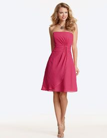 Jordan Fashions style 383 is a Short Chiffon dress with draped bodice and waistline. A-line skirt with draped overskirt. Removable spaghetti straps are included. Available in short, knee and floor lengths.