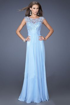 £75 Light Sky Blue Jewel Sheath Chiffon Floor-length Dress 113-pro-newe140710089 - Dressesonlineshops.co.uk