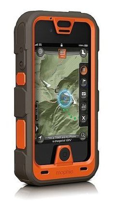 Mophie Juice Pack Outdoor Edition.  Mophie's two new Outdoor Edition Juice Packs more than double your battery life. They also turn your iPhone 4/4S into a dedicated GPS device offering access to millions of square miles of high-def maps thru the app. The deluxe Outdoor Edition Pro includes a rugged case that exceeds military impact & water-resistance standards.