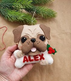 Baby First Christmas Ornament, Baby Ornaments, Babies First Christmas, Personalized Christmas Ornaments, Felt Christmas, Handmade Christmas, Fleece Crafts, Cute Sewing Projects, Felt Dogs