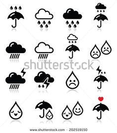 Rain, thunderstorm, heavy clouds  vector icons set  by RedKoala #umbrella #cute