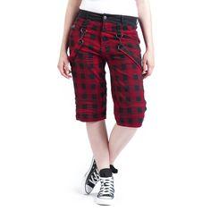 """#Pantaloncini da donna """"Rock Chain Shorts"""" della collezione Black Premium by EMP fantasia tartan con fascia nera in vita, lunghi fino al ginocchio con cinghie removibili."""