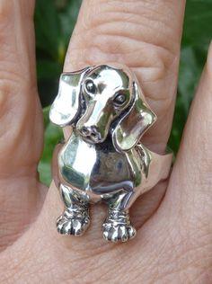 Anello di bassotto cane cane gioielli di MorganFischerJewelry