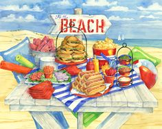 Picnic at the Beach Jigsaw Puzzle by Vermont Christmas Company. 1000 Pieces. Made in the U.S.A. with recycled materials. Randomly shaped and interlocking pieces. Great quality!