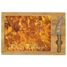 Happy Holidays custom Cheese Boards Autumn Leaves Rectangular Cheeseboard Designer High quality chees boards Entertaining Themed Kitchens. Holiday party events celebrations Cheese boards.