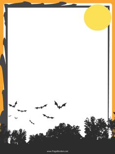 Gray bats fly over dark trees and under a full moon in this free, printable Halloween border. Free to download and print.