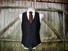 Vintage Mens Suit Waistcoat Black Waistcoat Wedding Anniversary Size 42 // Large // L // Black Polyester Wool Blend Waistcoat Vest Black Waistcoat, Black Suits, Mens Suits, Vintage Black, Wool Blend, 1960s, Vest, Mens Fashion, Jackets